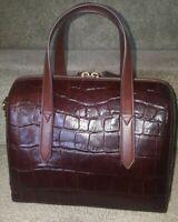 Fossil Sydney SHB1986204 Brown Croco Genuine Leather MD Satchel, NWT