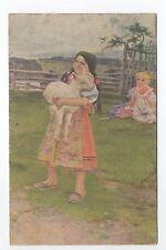 RUSSIE Russia Théme Types russes costumes jeune fille et mouton