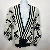 Front Line Cardigan Vintage Sweater Size L Black White Geometric 90s