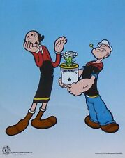 POPEYE THE SAILOR MAN & OLIVE OIL with Spinach Bouquet Animation Art Cel Sericel