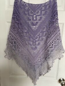 New handmade crocheted multi lilac purple 100% cotton  shawl