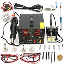 110V 4 In1 909D+ Rework Soldering Station Iron Hot Heat Air Gun USB Power Supply