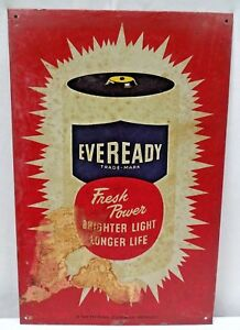 Vintage Eveready Battery Advertise Tin Sign Graphics Depicting Battery Colle #7