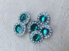 MINI bottone gioiello strass swarovsky AZZURRO BLU ANNI 70 vintage BUTTON BOUTON