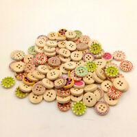NE_ HD_ ALS_ Mixture Colorful Wood 4 Holes Circle Buttons for Sewing Scrapbookin