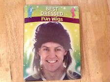 Mens Black 80's Mullet / long Wig with highlights Fancy Dress Festival Club Wear