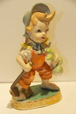 Girl Gardner Porcelain Bisque Figurine Turnips Hoe Pigtails Barefoot Japan Vgc