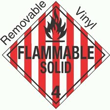 New listing P-308 Flammable Solid Class 4.1 Removable Vinyl Placard (Pack Of 50) Gc Labels