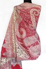 Large Kani Jamavar Wool Shawl Red Champagne Rose Paisley Stole Pashmina Style
