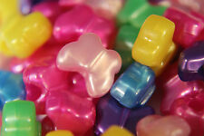 50 x Butterfly Shaped Pony Beads - Mixed Colours 12mm - Choose Your Finish