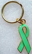 Celiac Disease Awareness special green ribbon key-ring, gold plated,US made
