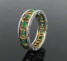 Vintage Mario Buccellati 1.12ct Colombian Emerald 18K Gold 6mm Hand Carved Band