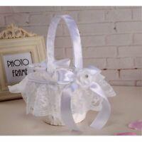 White Satin Lace Bowknot Rhinestone Wedding Ceremony Flower Girl Basket USA