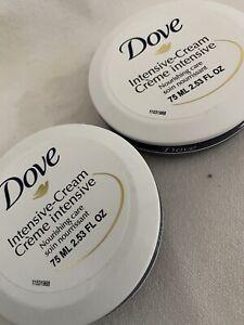 Lot of 2 DOVE CREAM Intensive Cream Nourishing Care 2.53 oz / 75ml - NEW