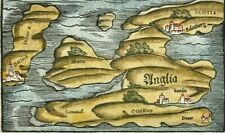 Antique Map British Isles c1578 ANGLIA by Munster, woodblock original colour