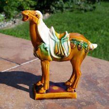 Chinese Sancai Glazed Tang Dynasty Style War Horse Flambé Drip Glaze Figurine