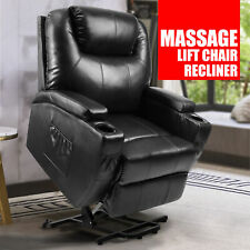 Power Recliner Massage Lift Chair Elderly Reclining Sofa W/ Heat Vibration Black