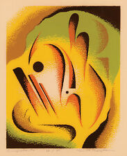 THOMAS A. ROBERTSON, 'COMPOSITION #4', signed color serigraph, c. 1940.