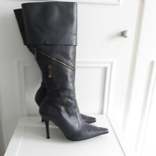 RIVER ISLAND Grey Leather Knee High Stiletto Zip Fold Over Boots Punk Sz 4 / 37