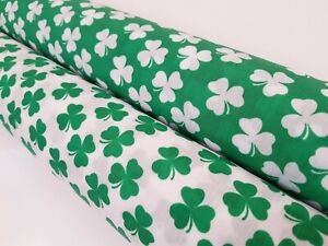 SHAMROCK 3 LEAF CLOVER - IDEAL FOR ST. PATRICK'S DAY - POLY COTTON FABRIC