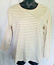 Laura Scott Top 1X Ivory Gold Metallic Long Sleeve Striped Cotton Blend Casual G
