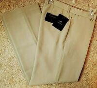NWT Claiborne Mens Beige Tan Flat Front Textured Dress Pants Slacks 32X32