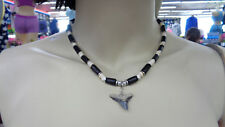 Unisex Surfer Style Black + White Beaded Real Fossil Shark Tooth Necklace