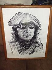 Framed John Lennon Black & White Gabe Perillo Print - Size 16 X 20