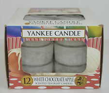 PACK OF 12 YANKEE CANDLE WHITE CHOCOLATE APPLE SCENTED TEA LIGHT CANDLES BOX SET
