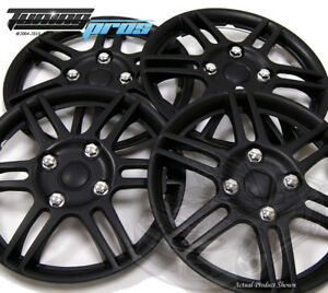"""Snap-On Hubcap 14"""" Inch Wheel Rim Skin Cover 4pcs Matte Black - 14 Inches #004"""