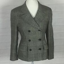 Womans Talbots Petites Wool Black Houndstooth Plaid Lined double Blazer Sz 10P