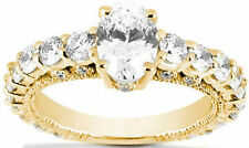2.61 ct DIAMOND Engagement Ring Wedding 14K Yellow Gold Band 1.01 ct Oval shape