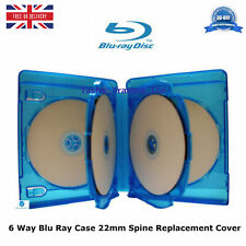 2 x 6 Way Blu ray Cases 22 mm Spine 2.2 cm Holding 6 Disks New Replacement Cover