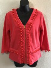 Boston Proper Coral Terry Zip Front Long Sleeve Top Cardigan Cover Up Size XS