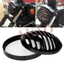 "Black 5 3/4"" Aluminum Headlight Grill Cover For Harley Sportsters Dyna Softails"