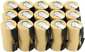 Tenergy NiCd Sub C 2200mAh Rechargeable Battery Cell Paper Wrapped Flat Top 15pk