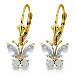 Genuine Aquamarine Gems Butterfly Leverback Earrings In 14K Yellow Gold