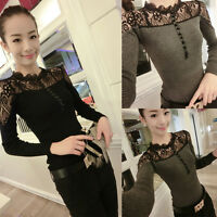 Womens Lace Splicing Shirt Long Sleeve Sexy Slim Pullover Tops Blouse Elegant