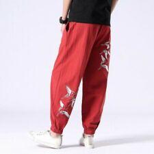 Men Trousers Cotton Blend Loose Printed Mid Waist Ethnic Leisure Harem Pant Size
