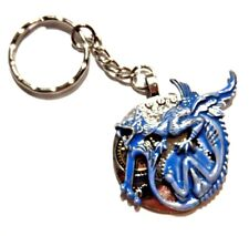 GARGOYLE KEY RING blue silver clock face gears devil dragon steampunk chain U4