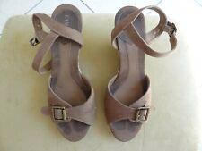Chaussures marron, nu-pieds, talon compensé 38 - Camaïeu