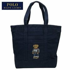 POLO RALPH LAUREN POLO BEAR EMBROIDERED CANVAS TOTE NAVY