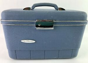 Sears Forecast Blue Train Cosmetic Hard Case Make Up Carrier Toiletries Travel