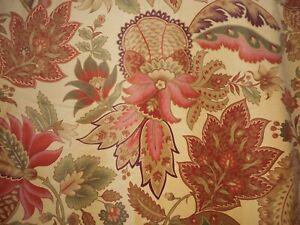 Gorgeous Indienne Large Floral Velvet Interiors Fabric ~ Coral Sage ~ Vintage ?