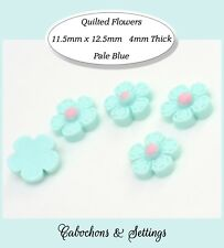 10 x Retro Quilted Style Daisy Cabochons Stitched Flowers Sky Blue