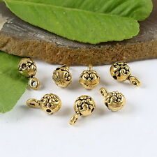 34pcs dark gold-tone flower charm findings h1337