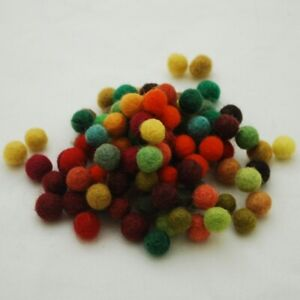 Pack of Pure Wool Felt Balls - Autumn Mix  Approx 100 balls per Pack - 1.5cm dia