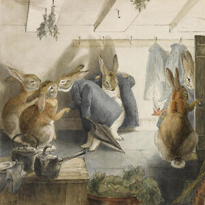 Rabbits Christmas Party, Departure  by Beatrix Potter   Paper Print Repro