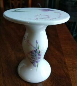 Bath & Body Works Spring 2000 Porcelain Pillar Candle Holder - Purple Flowers