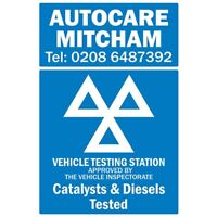 MOT Catalysts Tested Sign 600mm x 146mm //VOSA//DVSA sign